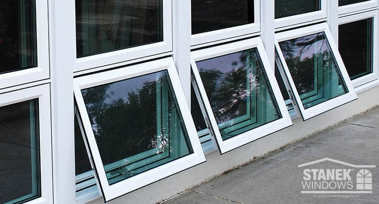 Awning vinyl replacement windows photo gallery stanek for Window opening styles